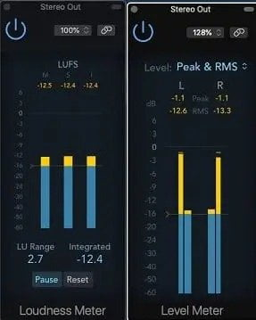 Logic X Loudnes & Level Meter - Difference Between LUFS, RMS, True Peak Loudness Meters Explained | Integraudio.com