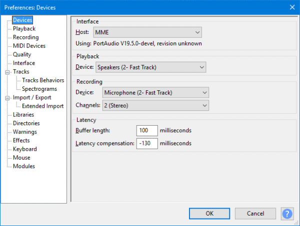 how to configure latency in Audacity