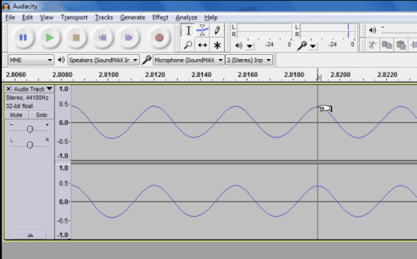 Waveform represented in Audacity