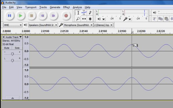 Waveform represented in Audacity