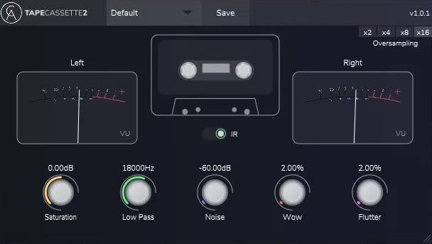 Tape Cassette 2 (Analog Tape Emulation) - 30 Best Free Plugins For Complete Music Production 2021 | Integraudio.com