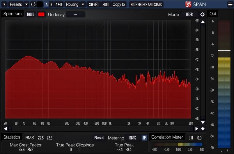 Voxengo SPAN (Spectrum Analyzer) - 30 Best Free Plugins For Complete Music Production 2021 | Integraudio.com