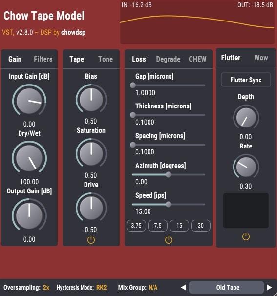 ChowDSP CHOW Tape Model - The 3 Best Free Saturation Plugins 2021 (VST,AU,AAX) | Integraudio.com