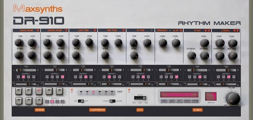 MaxSynths DR-910 - The 4 Best Free Drum Machine Plugins 2021   Integraudio.com